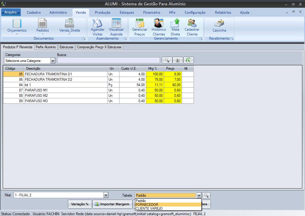 Gerenciamento de Preços - é possível criar múltiplas tabelas de preços, por perfil de cliente.
